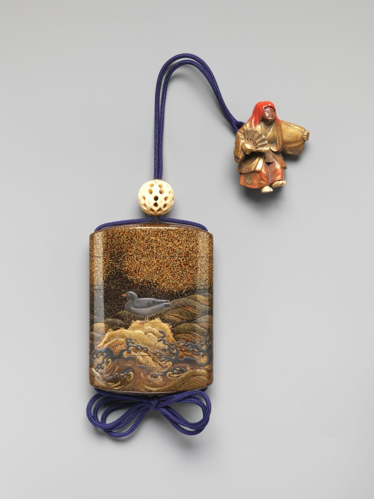 Case (Inrō) with Design of Bird on Standing on Rocks (obverse) Bird Flying above Waves (reverse)