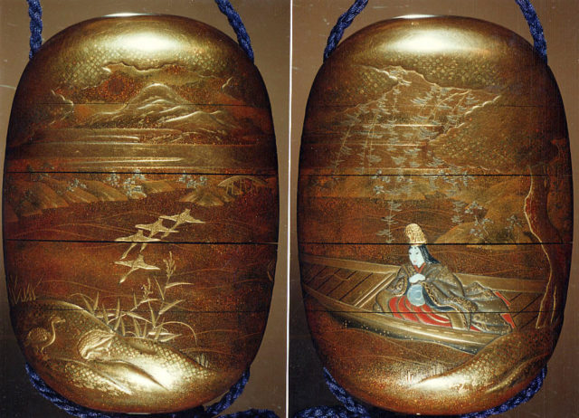 Case (Inrō) with Design of Court Lady in Boat with Drum (obverse);  Geese Taking Flight (reverse)