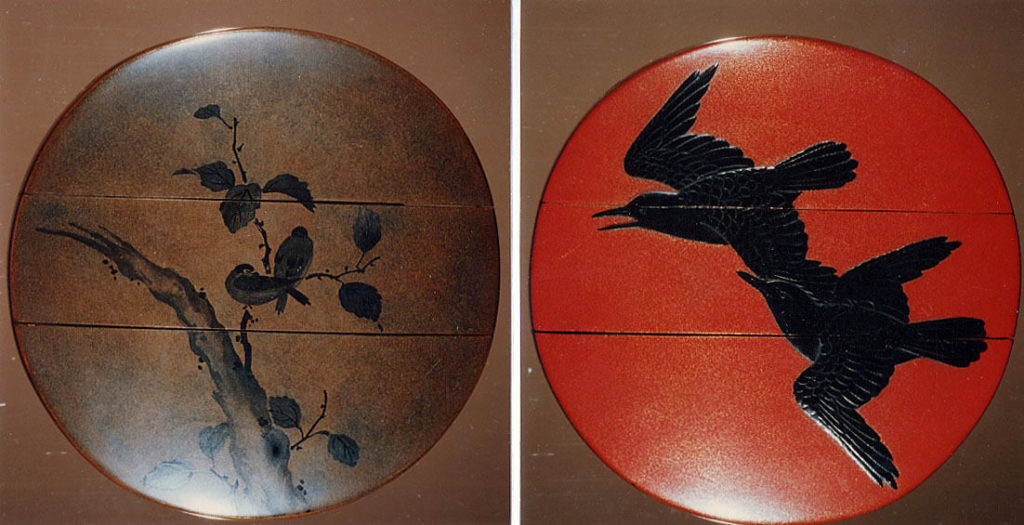 Case (Inrō) with Design of Crows in Flight and Birds on Branches
