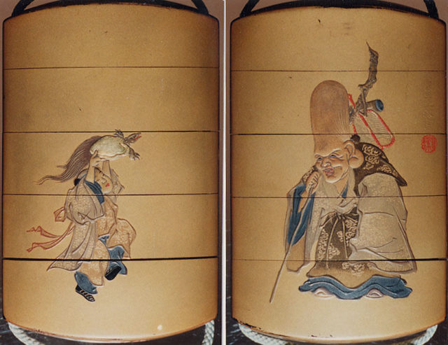 Case (Inrō) with Design of Deity of Longevity (Jurōjin) (obverse); Boy Offering a Tortoise (reverse)