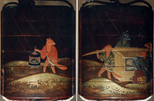 Case (Inrō) with Design of Fox Wedding Procession in Rain