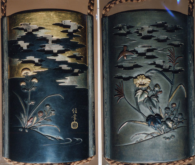 Case (Inrō) with Design of Hibiscus and Autumn Flowers beneath Clouds