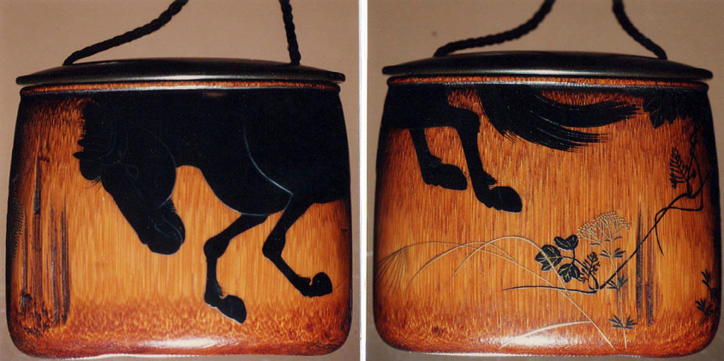 Case (Inrō) with Design of Horse and Autumn Grasses