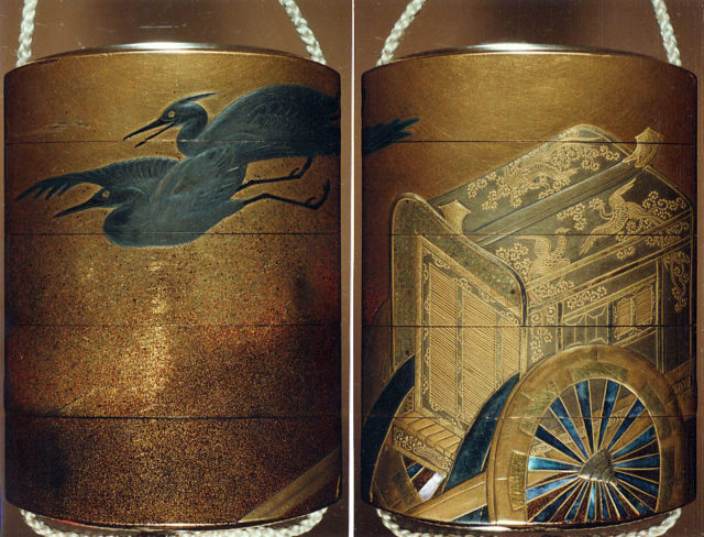 Case (Inrō) with Design of Imperial Cart and Flying Herons (obverse); Court Carriage and Flying Herons (reverse)