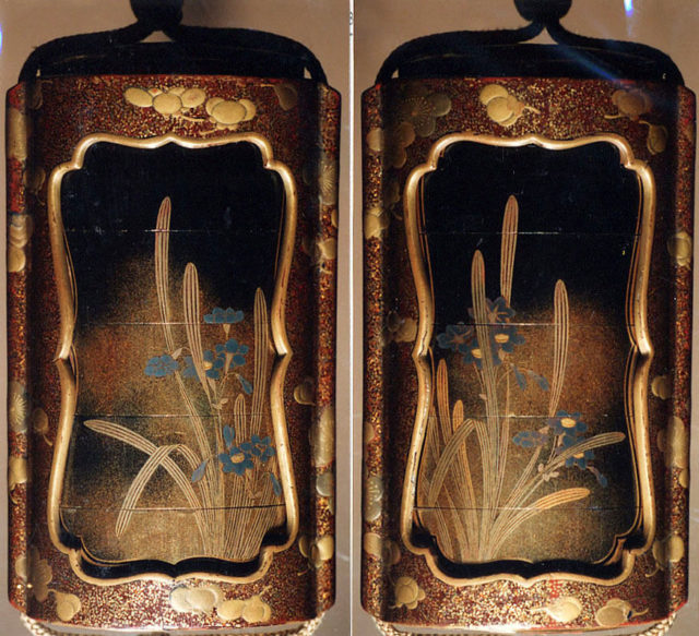 Case (Inrō) with Design of Narcissus and Saya Cover with Design of Plum