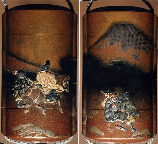 Case (Inrō) with Design of Narihira at Mount Fuji, from The Tales of Ise