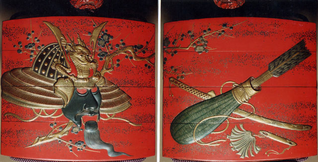 """Case (Inrō) with Design of Noh Drama """"Ebira"""" (Quiver) with Motifs of Helmet and Plum Branch (obverse); Arrows in Quiver and Sword (reverse)"""