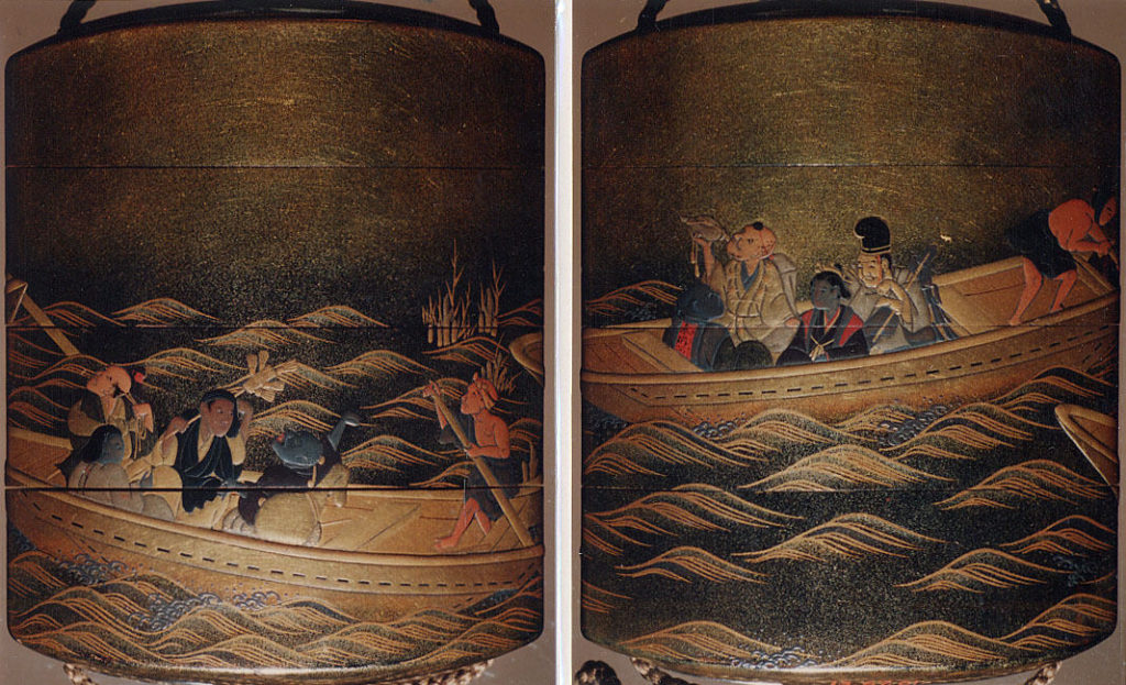 Case (Inrō) with Design of People Riding in Ferryboats