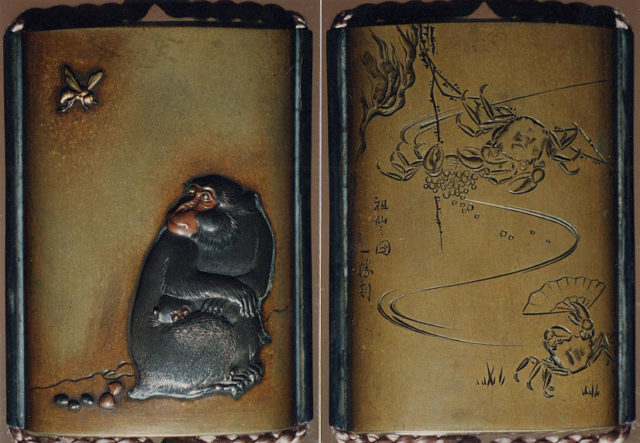 Case (Inrō) with Design of Seated Monkey Looking at a Wasp (obverse); Crabs with Fan beside Waves (reverse)