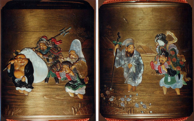 Case (Inrō) with Design of the Seven Gods of Good Fortune Fording a River