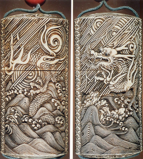 Case (Inrō) with Design of Three-Clawed Dragon in Rain and Swirling Clouds
