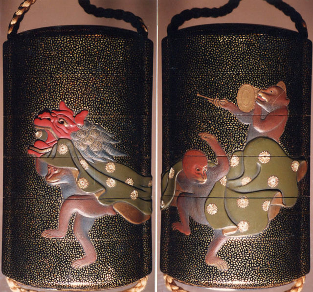 Case (Inrō) with Design of Three Monkeys as New Year Dancers