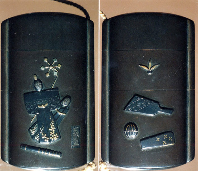 Case (Inrō) with Symbols of Girls' Festival (obverse); Emblems for New Year Festival (reverse)