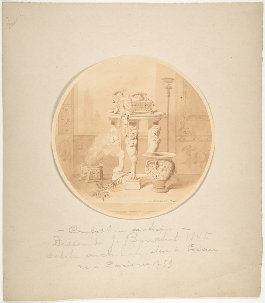 Circular Drawing of a Classical Interior with Fire in Brazier, Greek Vase and Circular Tripod Table
