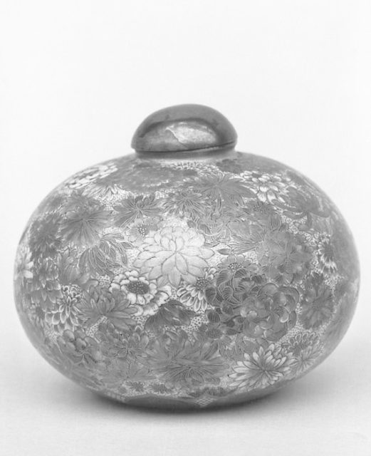 Circular Small Covered Jar with Millefleur Design