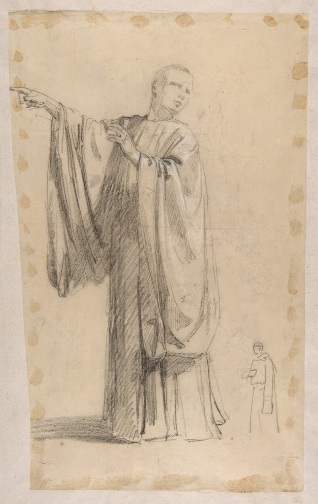 Cleric (lower register; study for wall paintings in the Chapel of Saint Remi, Sainte-Clotilde, Paris, 1858); black chalk landscape sketch on verso of support