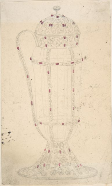 Crystal Vessel with Ornamented Metal Lid, Foot, Handle and Mounts