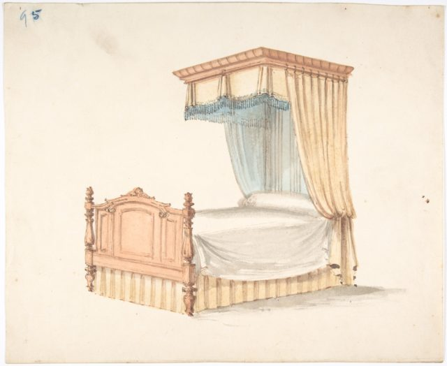 Design for a Bed with Yellow and Blue Fringed Hangings
