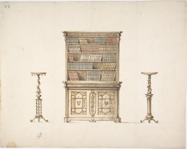 Design for a Bookcabinet and Two Pedestals (Verso: sketch)