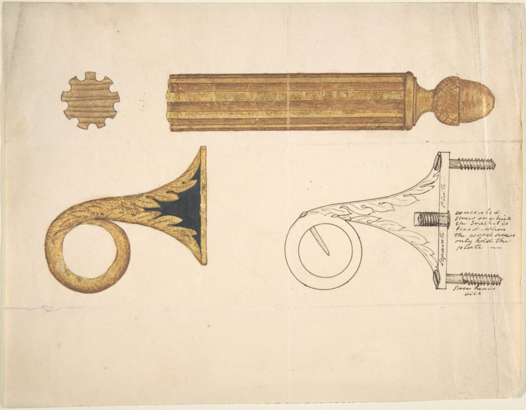 Design for a Bracket and Rod for Drapery