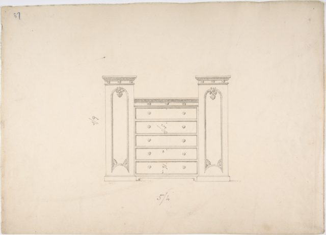 Design for a Cabinet with Central Drawers and Palmeate Ornament