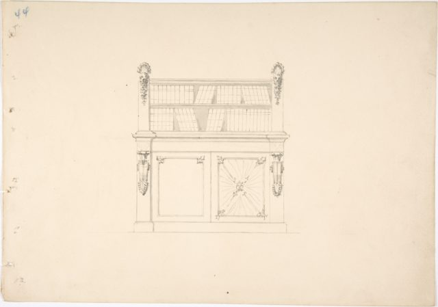 Design for a Cabinet with Classical Ornament and Bookshelves