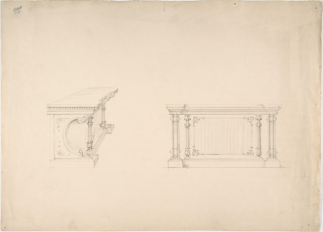Design for a Cabinet with Columns and Inset Fabric Panels: Elevation and Side View