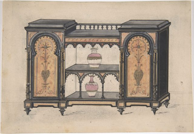 Design for a Cabinet with Two Central Shelves and Arched Doors
