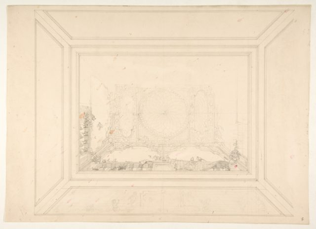 Design for a ceiling decorated with trellis work and a trompe l'oeil balustrade