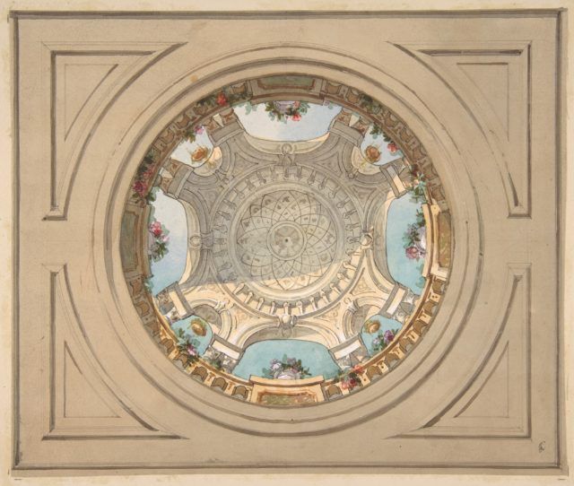 Design for a ceiling with trompe l'oeil balustrade
