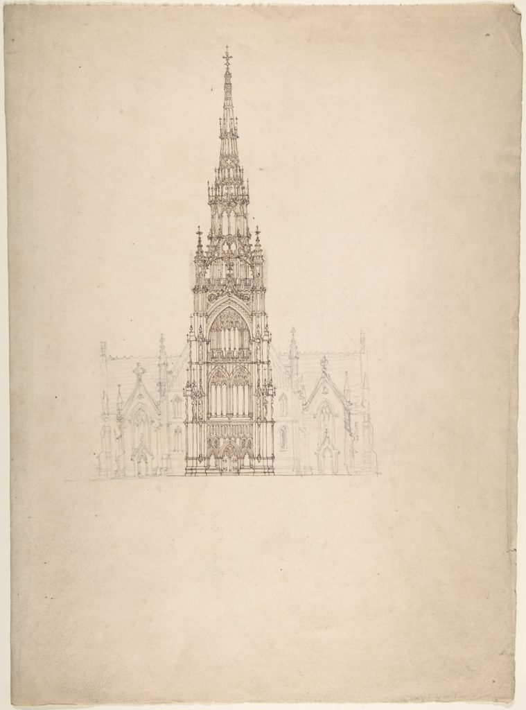 Design for a Church in the Decorated Style, Perspective