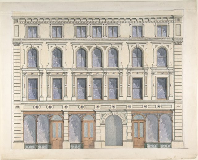 Design for a City Building with Three Shops on the Ground Floor