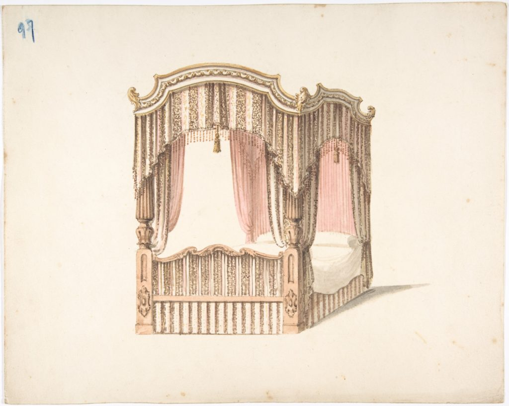 Design for a Curtained Four Poster Bed with Brown, Pink and White Striped Curtains