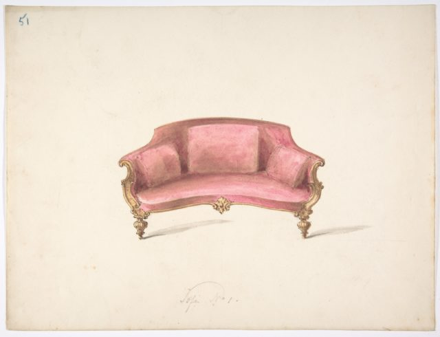 Design for a Curved-back Sofa Upholstered in Red