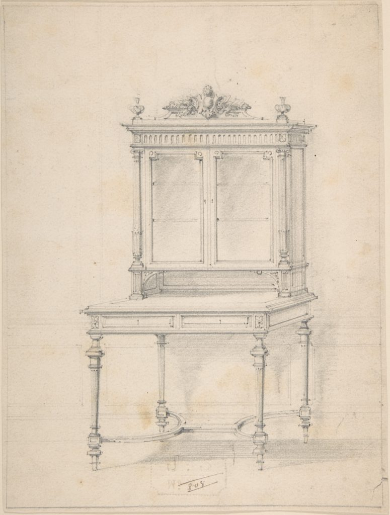 Design for a Desk with Cabinet