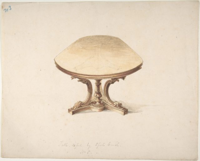 Design for a Dining Table, with Carved Pedestal-style Leg
