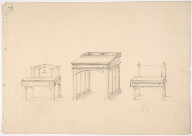 Design for a Gothic Desk and Two Low Chairs