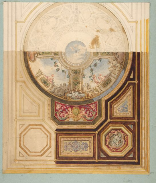 Design for a paneled ceiling with a trompe l'oeil dome in London