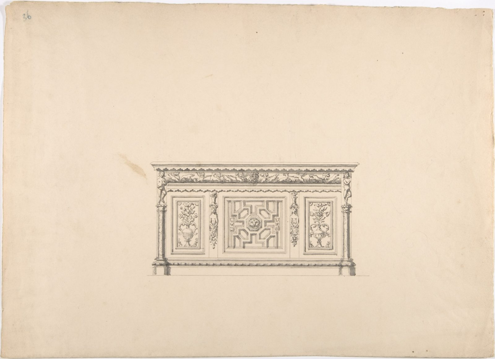 Design for a Renaissance Style Carved Cabinet