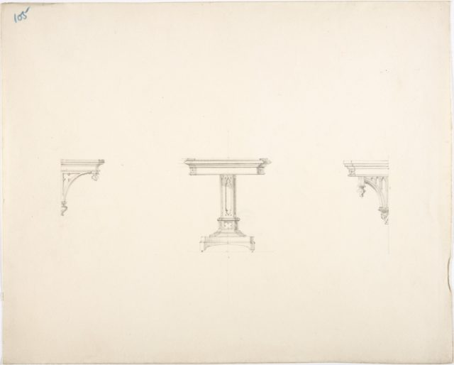 Design for a Small Gothic Pedestal Table and Two Brackets