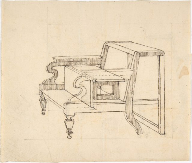 Design for a Small Stepstool with Front Casters (verso: sketch demonstrating folding mechanism)