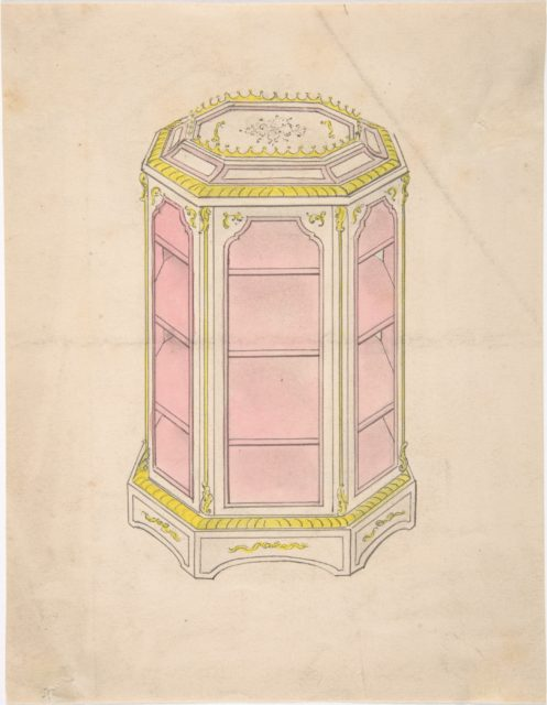 Design for an Octagonal Cabinet with Shelves and a Pink Interior