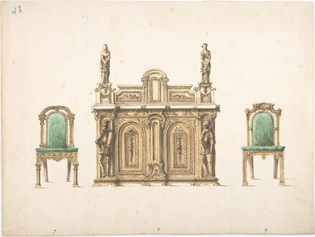 Design for Cabinet Ornamented with Carved Knights and Ladies, and Two Chairs