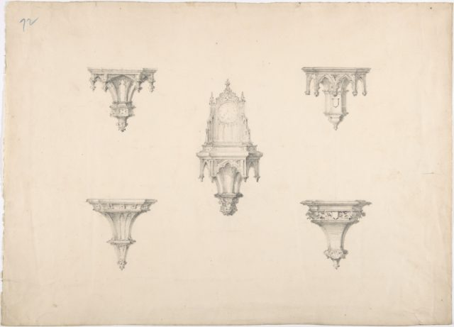 Design for Five Medieval Brackets, the Central One Bearing a Clock