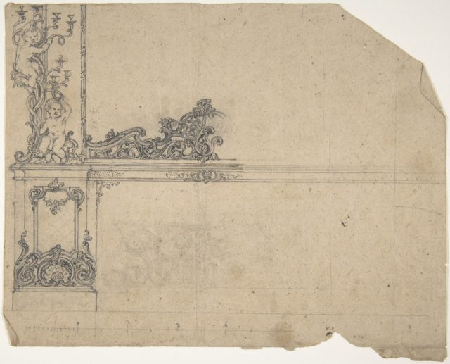 Design for left-hand side of a side-board, framed by sconces with putti