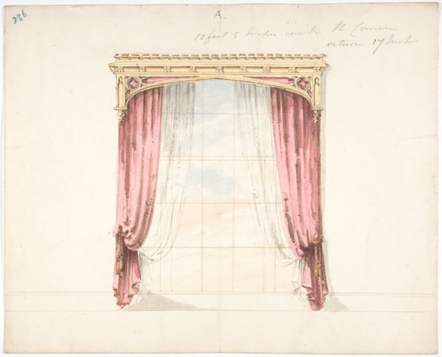 Design for Red Curtains with a Gothic Style Gold Pediment