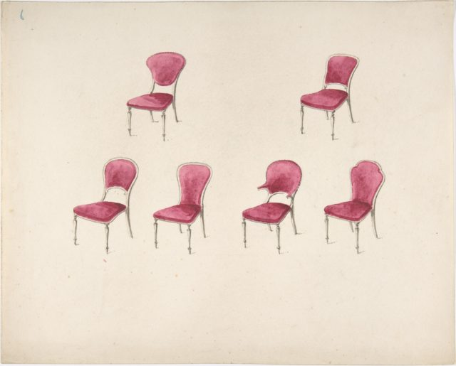 Design for Six Chairs with Scarlet Upholstery (verso: Sketch for Sofa)