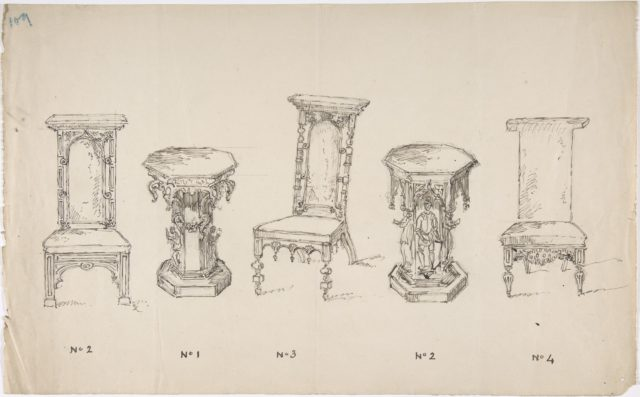 Design for Three Low Chairs and Two Pedestal Tables