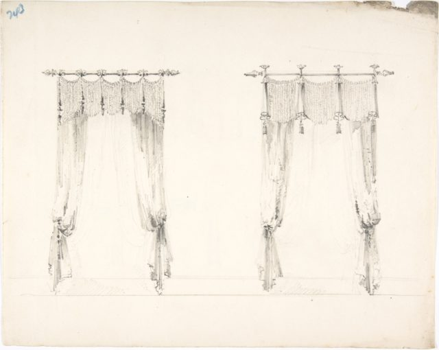 Design for Two Fringed Curtains Handing from Rods (Verso: Sketches)