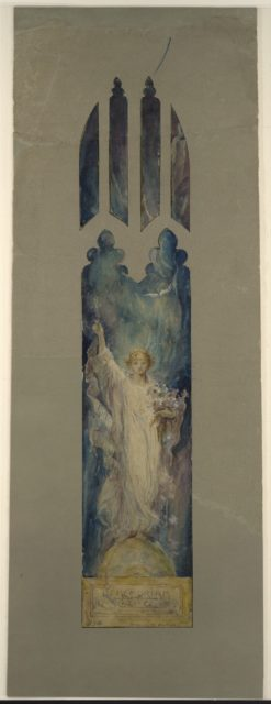 "Design for window of Angel Gabriel, ""Annunciation Angel [?]"""